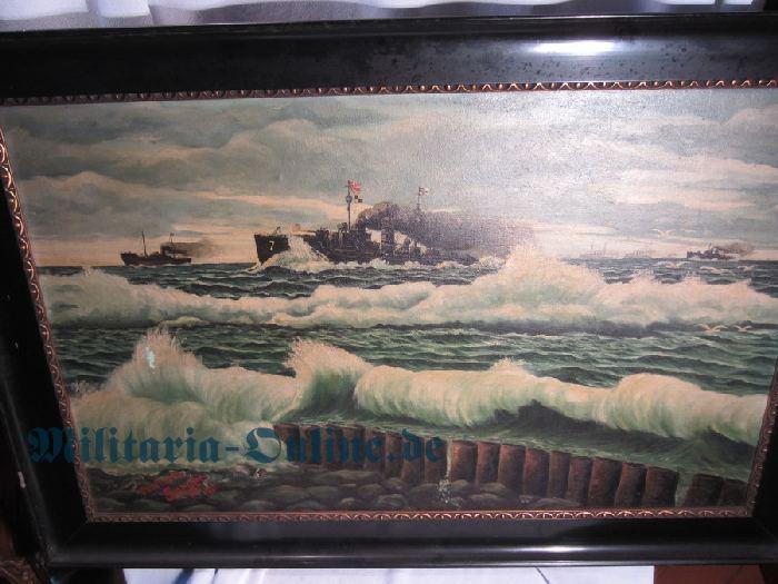 Ölgemälde Patrouillenboot