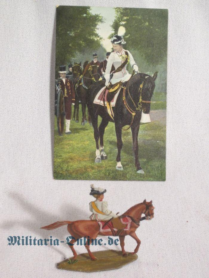 1 Zinnfigur mit Postkarte