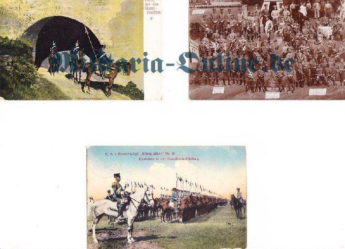 3 Postkarten Sachsen Husaren
