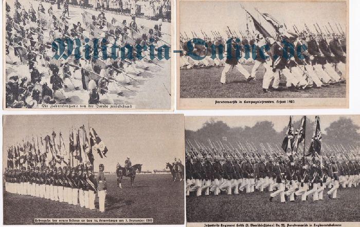 Preussen 4 Postkarten Fahnen