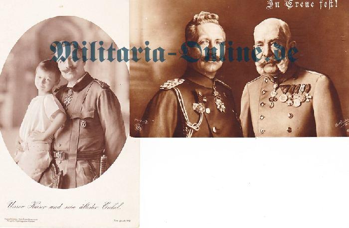 Postkarte 2 x Kaiser Wilhelm II