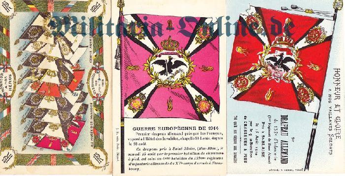 Postkarte 3x Fahnen